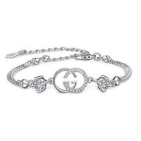 дизайнерские браслеты для женщин оптовых-Горячий бренд дизайнер браслет для женщин подвески браслеты Белый Фиолетовый Кристалл для женщин Серебряный еврей люблю ваш браслет для женщин бесплатная доставка