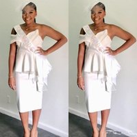 Wholesale one strap backless prom dress resale online - Chic Sweetheart Neck White Short Prom Dresses Ruched Satin Knee Length African Cocktail Party Dresses Robes de cocktail