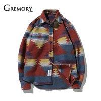 4xl flanellhemden großhandel-Folk-Custom-Shirts für Männer Vintage Woolen Freizeit Muster Kleid casual Hemd Männer plus Größe Streetwear Chemise Homme Flanell