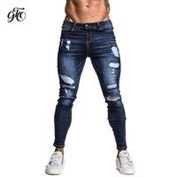 ingrosso jeans scarni di grandi dimensioni-Gingtto Jeans skinny elasticizzati e riparati Jeans blu scuro Hip Hop Distressed Super skinny Slim Fit Cotton Comfortable Big Size zm34