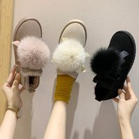 Wholesale cute lace up ankle boots resale online - Women Platform Cute Snow Boots Warm Plush Slip Fur Boots Women Shoes New Fashion Lace Up Ankle U11