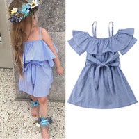 Wholesale european style baby clothes online - Baby girls suspender Off Shoulder dress children Ruffle stripe Sling princess dresses summer Fashion boutique Kids Clothing C5967