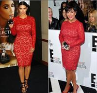 ingrosso eleganti corti vestiti rossi maniche lunghe-Elegante pizzo rosso Kim Kardashian Abiti 2019 lunghezza al ginocchio manica lunga abiti da sera formale gioiello con cerniera corto arabo tappeto rosso vestito da promenade