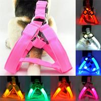Wholesale dog safety vest medium resale online - Nylon Pet Safety LED Harness Dog Product Flashing Light Harness LED Harness Leash Rope Belt LED Dog Collar Vest Pet Supplies AAA2110