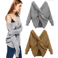 Wholesale twist clothes for sale - Group buy 7 Colors V neck Twisted Sweater Women s Autumn Pullovers Casual Lady Tops Long Sleeves Knit Sweaters Women Clothing MMA1286