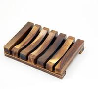 jabón de plato libre al por mayor-Jabonera de madera vintage Plato Bandeja Soporte Caja Caja Ducha Lavado a mano DHl Envío gratis ELSD002