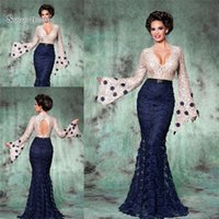 ca31db4e965 Navy Blue Mother of the Bride Lace Long Sleeves V-neck Backless Prom Party Wedding  Dress Formal Event Gown