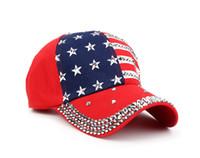 amerikan bayrağı snapback şapka toptan satış-Genbitty Yüksek Kalite Yıldız Desen Beyzbol Şapkası Perçin Baskılı Kadın Erkek Amerikan Bayrağı Snapback Hip Hop Şapka Dropshipping Hediye