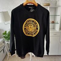 das lange schwarze t-shirt der männer großhandel-Herren Designer T Shirts Schwarz Weiß Design der Münze Herren Modedesigner T-Shirts Top Druck Langarm S-XXL LJJA2374