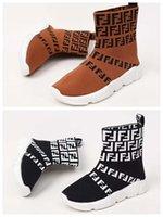 botas de niños pequeños al por mayor-Zapatillas de moda para niños FF letra de la muchacha de tela de deslizamiento en botas zapatillas de deporte de la marca niña niña zapato niño atlético zapato niños pequeños envían con caja