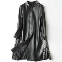 jaqueta de couro feminina roxa venda por atacado-2018 nova moda genuína trincheira de couro de ovelha H28
