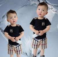 Wholesale baby boys shorts resale online - Spring Luxury Designer Baby Boy Girl t shirt Pants Two piec years olde Suit Kids Brand Children s Clothing Sets