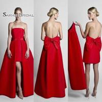 berühmtheit rote kleid bogen großhandel-Hot Red Celebrity Dresses Abendgarderobe mit abnehmbarem Rock trägerlos mit Bogen zurück Abendkleid Party Kleider
