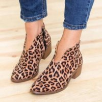 Wholesale sexy shoes leopard red online - Spring Autumn New Women Boots Ankle Sexy Leopard Print Martin Boots Pointed Hoof Heels Fashion Casual Shoes Woman Size