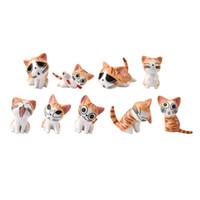 ingrosso ornamenti giardino gatti-ew 9 Pz / set Mini Cheese Cat Ornament Figurine in miniatura Fairy Garden Cartoon Animal Statue Bonsai Decorazione casa delle bambole Nuovo 9 Pz / set ...