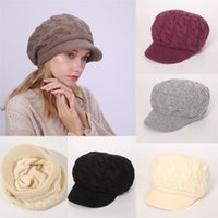 Wholesale crochet rabbit hats resale online - 10 Colors Big Girls Winter Caps Plus Velvet Warm Rabbit wWool Ttwist Stingy Brim Hats Crochet Ball Cap Girls Accessories M425