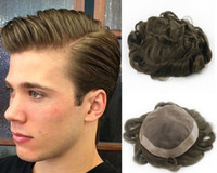Wholesale ash wigs resale online - Ash Brown Color Toupee for Men Full French Lace Men s Wig Hair Pieces Brazilian Human Hair Replacement