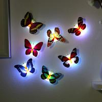 kelebek duvar lambası toptan satış-5 cm Roman LED Kelebekler Abajur Yumuşak Aydınlatma Bebek Çocuk Odası Çubuk-On Duvar Noel Romantik Dekorasyon Çocuk Oyuncak Hediye LA341