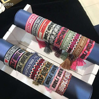 Wholesale white rope tassels resale online - Luxury style rope material woven bracelet with sewing words and tassel hand strap famous brand jewelry for women gift
