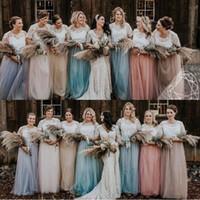 Wholesale tulle dresses for sale - Group buy Country Lace Top Two Pieces Bridesmaid Dresses Cap Sleeves A Line Soft Tulle Plus Size Beach Maid Of Honor Evening Gowns