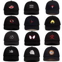 naruto hüte großhandel-100% Baumwolle japanische Anime Naruto Akatsuki Logo Vater Hut Uchiha Familie Logo Bestickte Baseballmützen Black Snapback Hats dropship