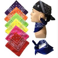 печатные браслеты оптовых-Унисекс хип-хоп черный бандана мода головные уборы резинка для волос шея шарф наручники квадратные шарфы печать платок высокое качество