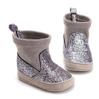 sapatas de passeio das meninas primeiras venda por atacado-2019 Inverno Bebê Menina Botas Infantis Crianças Quente Primeiro Andar Sapatos de Pelúcia Prewalker Primeiros Caminhantes Bebés Meninas Sapatos Meninos