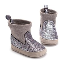 çocuklar ilk yürümeye başlayan ayakkabılar toptan satış-2019 Kış Bebek Kız Çizmeler Bebek Çocuk Sıcak İlk Yürüyüş Ayakkabıları Peluş Prewalker İlk Walkers Bebek Kız Ayakkabı Boys