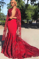 Wholesale half cape resale online - Red Lace Evening Dresses Mermaid With Cape Half Sleeves Arabic African Party Gowns Custom Made Formal Prom Dresses