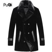 motorrad-frontständer großhandel-PUDI MT8106 Männer neue Mode echte Wolle Pelzmantel mit Nerz Pelzkragen langen Mantel Herbst Winter Casual Outwear