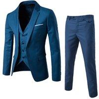 colete preto slim para homens venda por atacado-(Jaqueta + Calça + Colete) Homens Terno De Casamento Masculino Blazers Slim Fit Ternos Para Homens Traje Negócios Formal Partido Azul Clássico Preto