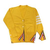 yeni şık bayan ceketi toptan satış-Lady Kazak Yeni Moda Sarı Renk Dört Bar Çizgili Şık Ince Hırka TB Kazak Ceket S-L Boyutu