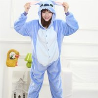 pijamas de animales divertidos al por mayor-Animal Stitch Onesie Adultos Adolescentes Mujeres Pijama Kigurumi Pijamas Divertido Franela Cálido Suave En general Onepiece Night Home JumpsuitMX190822