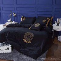 nordische abdeckungen großhandel-Alle Baumwolle Göttin Stickerei Bettwäsche Anzug Frühling Sommer Hochwertige Mode Marke Bettlaken Sets Nordic Boutique Bettbezug Anzug