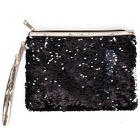 ingrosso borsa da viaggio di trucco-Organizzatore portatile del sacchetto di trucco cosmetico di modo della chiusura lampo portatile con la borsa della borsa di immagazzinamento dei paillettes della busta del regalo della maniglia