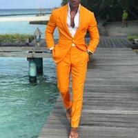 ingrosso migliori cappotti di vestito-2019 Ultimi Pantaloni Cappotti Disegni Uomo Abiti Arancione Abiti da sposa Slim Fit Groom Best Men uomo smoking 2 pezzi WL