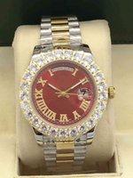 relojes cara de diamante al por mayor-Envío gratis relojes hombres Day-Date Red face diamond watch hombres zafiro automático 18K cierre original Reloj de pulsera mecánico