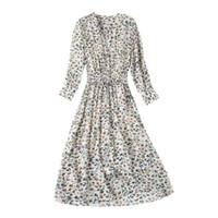 ingrosso marchio del vestito dalla porcellana-Abito in crêpe DE Chine di seta Primavera in seta di gelso e nuova gonna floreale a collo alto a V di alta qualità
