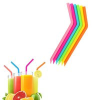 Wholesale kitchen sucker resale online - Reusable Colorful Silicone Straws Fruit Juice Bar Sucker Party Kitchen Birthday Folding Silicone Straw Creative Drinking Tool TTA1909