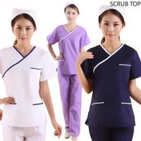 Wholesale summer nurses uniforms resale online - Women s Fashion Scrub Top Color Blocking Design Medical Uniforms Nursing Uniforms Short Sleeved V neck Top Just A Top
