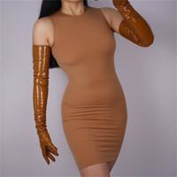 ingrosso guanto in pelle opera-70 centimetri extra lungo Patent Leather Gloves Opera di emulazione in pelle di pecora PU brillante Caramel Cream Camel Brown WPU20-70