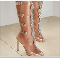 topo de calção de borracha venda por atacado-35 # -42 # pvc sola de borracha superior senhoras de moda europeus e americanos sexy strass sandálias de salto alto botas de borracha transparente