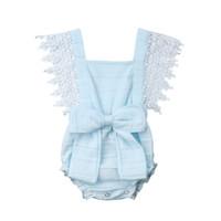 lange hülsenjacken 24 monate groihandel-Neugeborenes Baby Mädchen Lace ärmellose Strampler Bow Knoten Overall für Neugeborene Kinderkleidung Kinderkleidung