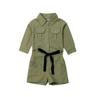 детские повседневные рубашки платья девушки оптовых-Pudcoco Casual Toddler Kids Baby Girl 2-7Y Dress Long Sleeve Shirt Solid Romper Jumpsuit Outfits Clothes