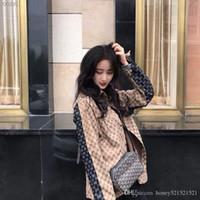 erkekler için kot ceket tasarımı toptan satış-2019 Yeni tasarım moda kadın erkek gevşek logosu mektup jakarlı denim kot renk bloğu palazzo gömlek ceket ceket casacos
