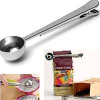 ferramentas de moagem de metais venda por atacado-Estilo quente Heathful Cozinhar Ferramenta Inoxidável 1 Copo de Café Moído Colher Colher De Medição com Saco de Vedação Clipe Bom Ajudante