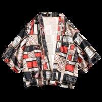 quimono superdimensionado venda por atacado-2019 Camisas Homens Quimono Tradicional Camisa Ponto Aberto Masculino Camisa de Três Quartos Mens Harajuku Impressão Cardigan Blusa De Grandes Dimensões 5XL