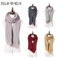 90cd7a23413e38 Isummer New Winter Sciarpa per le donne a maglia nappa Cashmere Ladies  Scarf moda casual bianco e nero Check Drop Shipping