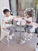çocuklar gömlek tasarımları toptan satış-Ücretsiz kargo çocuk tişörtü Yeni moda tasarım baskı mektuplar erkek kız t-shirt Pamuk 100% Çocuklar tişörtü