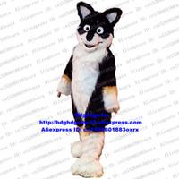 köpek kostüm çocuğu toptan satış-Siyah Beyaz Uzun Kürk Kurt Coyote Fox Husky Köpek Alaskan Malamute Maskot Kostüm Yetişkin Karikatür Giyim Spor Etkinlikleri zx669